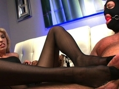 Violet Sky Plays with her Foot Addicted Slave - FootJobAddict
