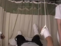 Lustful asian nurse rides a veiny cock in voyeur sex video