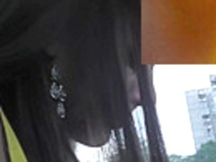 Girl caught on upskirt cam before sitting in the bus