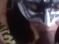 My perspired masked darksome brown blows my hard prick in POV