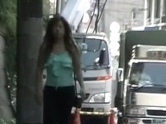 Cute Asian babe gets sharked in public