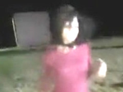 Tika dances out her clit at night beach