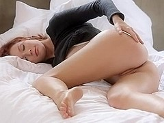 Shy girl shows pussy