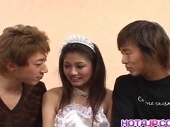 Aki Anzai gets dick under white lingerie