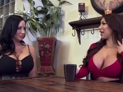 Two busty babes share one lucky dude in wild thresome sex