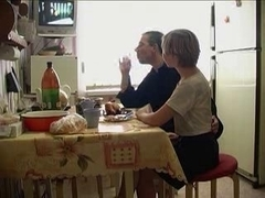 Blonde teen fucks mature guy in the kitchen