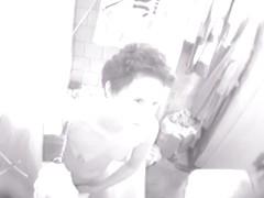 Nude fem masturbated in bath and noticed the spy camera