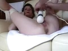 sleazy mature masturbated by large vibrator