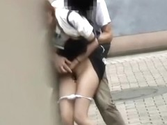Tender sweetie having wicked sharking affair in the public