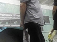 Perfect upskirt scene shows yummy flabby butt