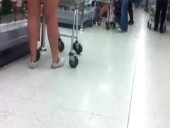 shopping in mini skirt