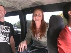 Busty ginger Lindsey Springer gets nailed in a van