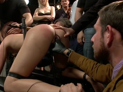 Pain slut surrenders to public ass-pounding