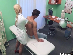 Hot nurse doing 69 pose in hospital