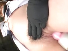 Bound Asian in maid uniform squirts before deep fuck with sex toy
