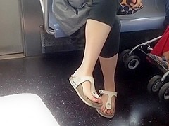 Candid feet in Birkenstock sandals