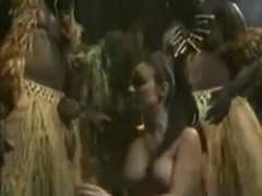 Daniella Rush threesome in the jungle with two darksome natives