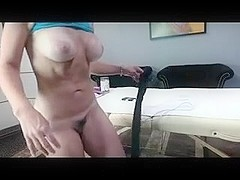 Busty blonde, Sarah, fucks her twat with a dildo