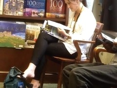 Candid Dangling at a Bookstore Shoeplay Feet