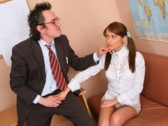 TrickyOldTeacher - Struggling student sucks cock of teacher and fucks till she passes