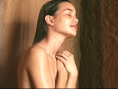 Hotty shows her soaked hair wet crack in shower