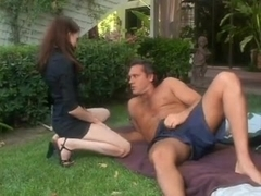 Older Stud Fucks Young Redhead In Yard