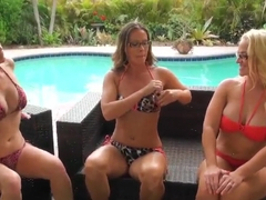 Crazy milf Brianna seduces Ray Dee Siren and the other chick in the swimming-pool