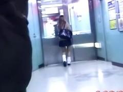Horny stalker skirt sharked her in the public toilet