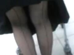 Seamed stockings upskirt