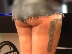 hot pants public showing underbutt ass