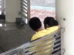 Voyeur tapes an asian girl fucking her bf in public