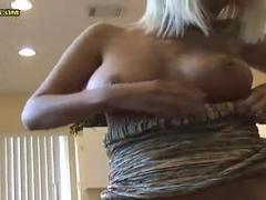 Naughty dude Jay got his blonde girlfriend Serena standing on her knees between his hips and pleasing him with dick suck.