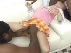 Horny Japanese whore Riku Shiina in Crazy College/Gakuseifuku, Interracial JAV scene