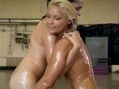 Oiled babes Lana S and Leda wrestle