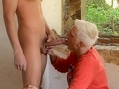 Contruction worker is given a blowjob