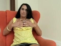 Hot dark haired babe Riley Knight rubs her tight vagina