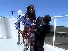 Ebony TS chick Geneses gets her ass pounded hard and facialized