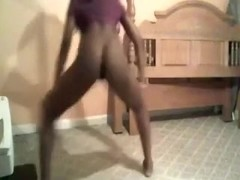 Skinny black young playgirl on web camera receives naked and dances