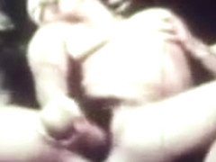 Raunchy Vintage Lesbian Orgy Shoving Up LARGE Dildoes