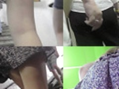 Lady's g-string seen in upskirt footage made in public