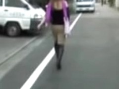 Bombastic oriental cutie receives wicked sharing attack on the street
