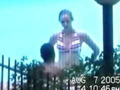 Voyeur tapes a latina couple having sex near the swimming pool