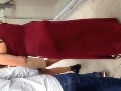 White Milf showing thong in long dress