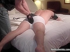 Bound and spanked gay dude sucks cock