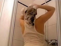 Charming blonde wife is taken in her baths by lusty husband and share in web