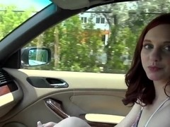 Redhead horny babe Ginger Maxx gets huge dick in her mouth in the car