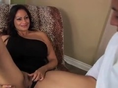 Big tits milf cougar have sex with younger guy