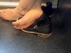 Candid barefoot girl on train 20