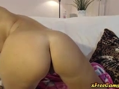 Blonde babe dildos her ass and rubs her pussy