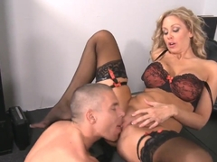 Dazzling blonde office girl Julia Ann gets her clam munched on by Mick Blue
